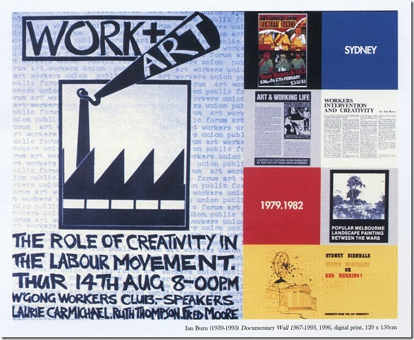 Ian Burn (1939 - 1993), Documentary wall 1967 - 1996, Digital print, 120 x 150 cm, from 'The Artist and the Social Order' exhibition UWS Art Gallery 2009